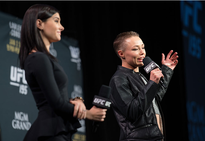 LAS VEGAS, NEVADA - JANUARY 01:  Rose Namajunas interacts with fans during a Q&A session before the UFC 195 weigh-ins at the MGM Grand Hotel/Casino on January 1, 2015 in Las Vegas Nevada. (Photo by Brandon Magnus/Zuffa LLC/Zuffa LLC via Getty Images)