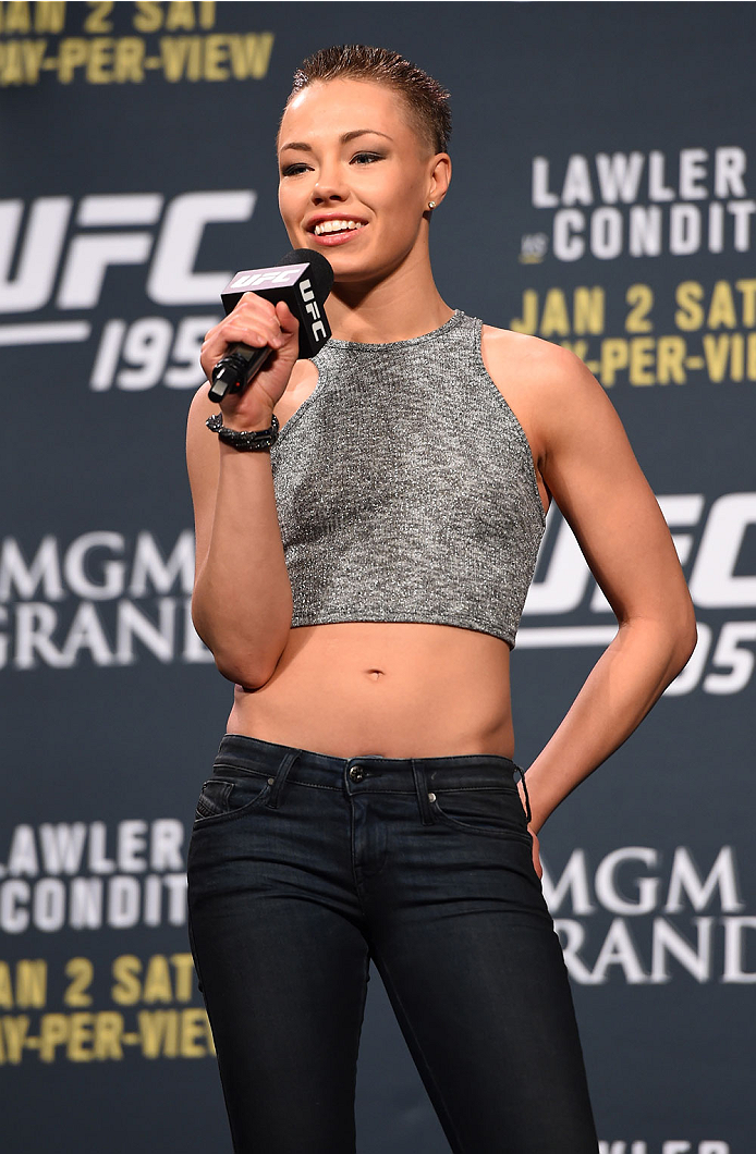 LAS VEGAS, NV - JANUARY 01:   Rose Namajunas interacts with fans during a Q&A session before the UFC 195 weigh-in at the MGM Grand Conference Center on January 1, 2016 in Las Vegas, Nevada. (Photo by Josh Hedges/Zuffa LLC/Zuffa LLC via Getty Images)