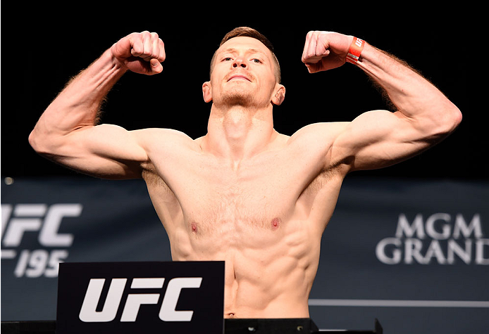 LAS VEGAS, NV - JANUARY 01:   Joe Duffy of Ireland weighs in during the UFC 195 weigh-in at the MGM Grand Conference Center on January 1, 2016 in Las Vegas, Nevada. (Photo by Josh Hedges/Zuffa LLC/Zuffa LLC via Getty Images)