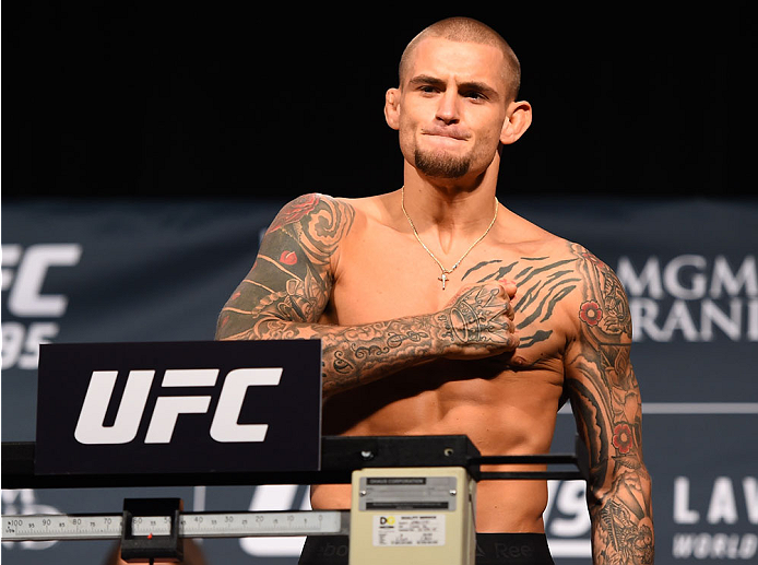 LAS VEGAS, NV - JANUARY 01:   Dustin Poirier weighs in during the UFC 195 weigh-in at the MGM Grand Conference Center on January 1, 2016 in Las Vegas, Nevada. (Photo by Josh Hedges/Zuffa LLC/Zuffa LLC via Getty Images)