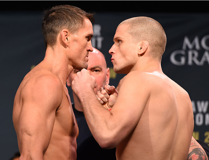 LAS VEGAS, NV - JANUARY 01:   (L-R) Opponents Kyle Noke of Australia and Alex Morono face off during the UFC 195 weigh-in at the MGM Grand Conference Center on January 1, 2016 in Las Vegas, Nevada. (Photo by Josh Hedges/Zuffa LLC/Zuffa LLC via Getty Images)