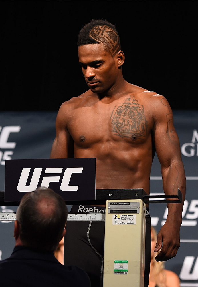LAS VEGAS, NV - JANUARY 01:   Lorenz Larkin weighs in during the UFC 195 weigh-in at the MGM Grand Conference Center on January 1, 2016 in Las Vegas, Nevada. (Photo by Josh Hedges/Zuffa LLC/Zuffa LLC via Getty Images)