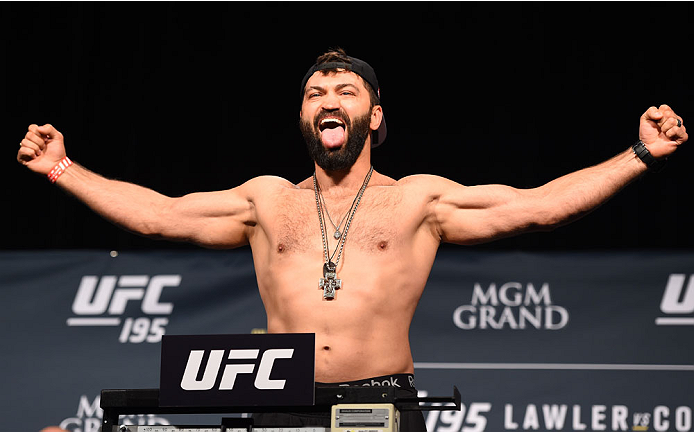 LAS VEGAS, NV - JANUARY 01:   Andrei Arlovski of Belarus weighs in during the UFC 195 weigh-in at the MGM Grand Conference Center on January 1, 2016 in Las Vegas, Nevada. (Photo by Josh Hedges/Zuffa LLC/Zuffa LLC via Getty Images)