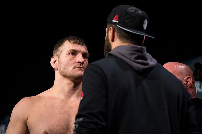 LAS VEGAS, NEVADA - JANUARY 01:  (L-R) Stipe Miocic and Andrei Arlovski face off during the UFC 195 weigh-ins at the MGM Grand Hotel/Casino on January 1, 2016 in Las Vegas Nevada. (Photo by Brandon Magnus/Zuffa LLC/Zuffa LLC via Getty Images)