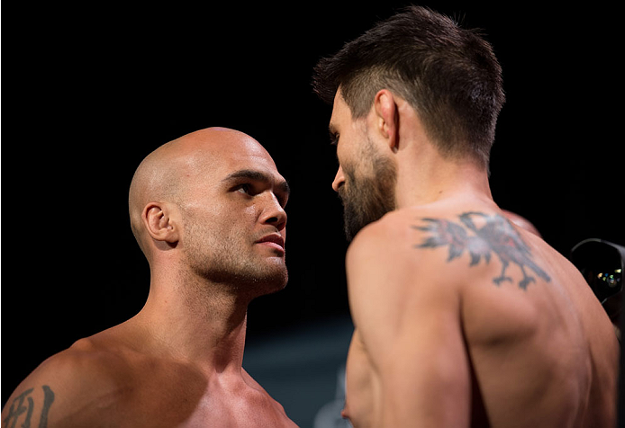 LAS VEGAS, NEVADA - JANUARY 01:  (L-R) UFC welterweight champion Robbie Lawler and Carlos Condit face off during the UFC 195 weigh-ins at the MGM Grand Hotel/Casino on January 1, 2016 in Las Vegas Nevada. (Photo by Brandon Magnus/Zuffa LLC/Zuffa LLC via Getty Images)