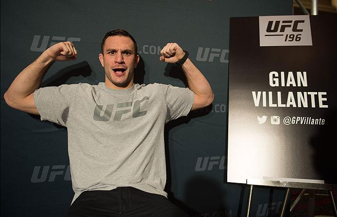 LAS VEGAS, NV - MARCH 3:   Gian Villante speaks to the media during the UFC 196 Ultimate Media Day in the MGM Grand Hotel/Casino on March 3, 2016 in Las Vegas, Nevada. (Photo by Brandon Magnus/Zuffa LLC/Zuffa LLC via Getty Images)
