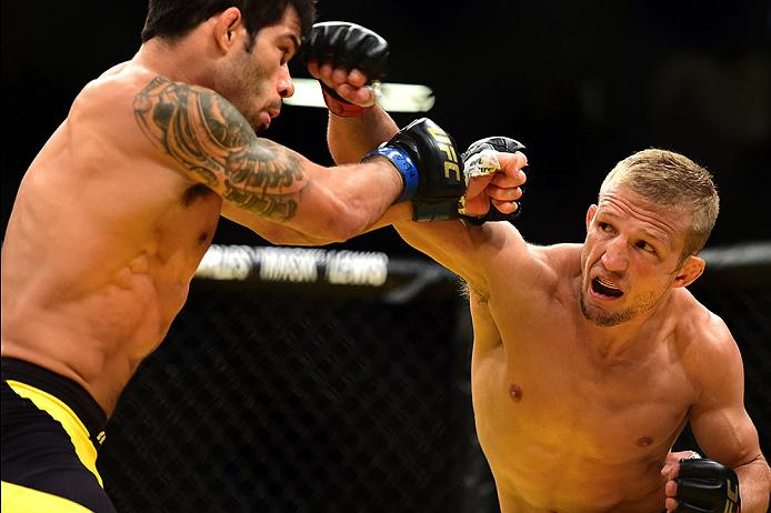 LAS VEGAS, NV - JULY 09: (R-L) TJ Dillashaw punches Raphael Assuncao of Brazil in their bantamweight bout during the UFC 200 event on July 9, 2016 at T-Mobile Arena in Las Vegas, Nevada. (Photo by Harry How/Zuffa LLC/Zuffa LLC via Getty Images) *** Local Caption *** TJ Dillashaw; Raphael Assuncao