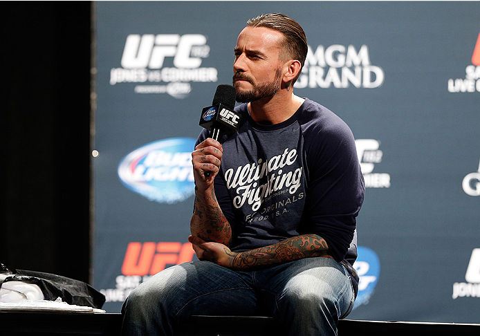Phil 'C.M. Punk' Brooks interacts with fans during a Q&A session before the UFC 182 weigh-in event at the MGM Grand Conference Center on January 2, 2015 in Las Vegas, Nevada. (Photo by Josh Hedges/Zuffa LLC)