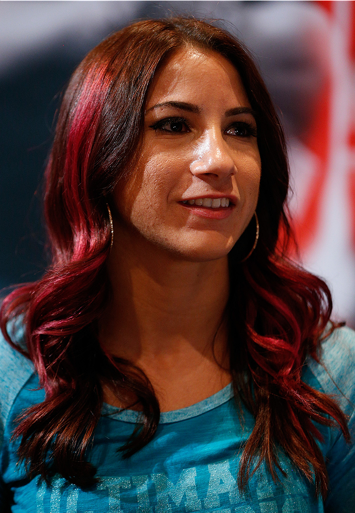 LAS VEGAS, NV - JULY 03:  The Ultimate Fighter season 20 cast member Tecia Torres interacts with media during the UFC Ultimate Media Day at the Mandalay Bay Resort and Casino on July 3, 2014 in Las Vegas, Nevada.  (Photo by Josh Hedges/Zuffa LLC/Zuffa LLC via Getty Images)