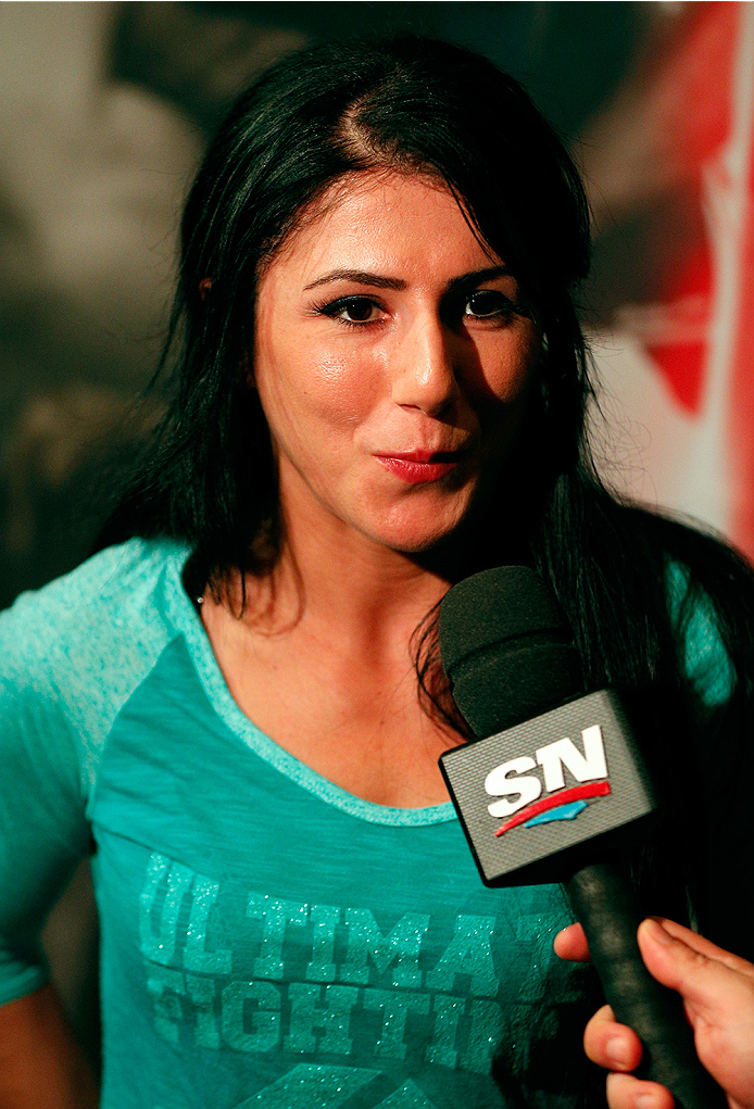 LAS VEGAS, NV - JULY 03:  The Ultimate Fighter season 20 cast member Randa Markos interacts with media during the UFC Ultimate Media Day at the Mandalay Bay Resort and Casino on July 3, 2014 in Las Vegas, Nevada.  (Photo by Josh Hedges/Zuffa LLC/Zuffa LLC via Getty Images)
