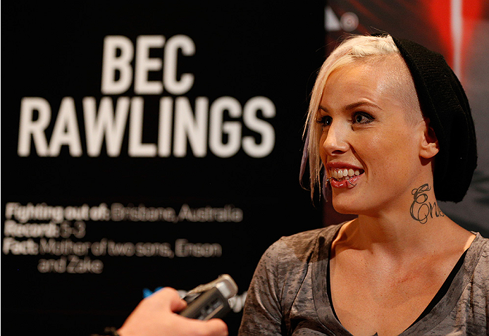 LAS VEGAS, NV - JULY 03:  The Ultimate Fighter season 20 cast member Bec Rawlings interacts with media during the UFC Ultimate Media Day at the Mandalay Bay Resort and Casino on July 3, 2014 in Las Vegas, Nevada.  (Photo by Josh Hedges/Zuffa LLC/Zuffa LLC via Getty Images)