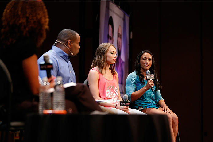 LAS VEGAS, NV - JULY 03:  (R-L) The Ultimate Fighter season 20 cast members Carla Esparza and Rose Namajunas interact with fans during the UFC Ultimate Media Day at the Mandalay Bay Resort and Casino on July 3, 2014 in Las Vegas, Nevada.  (Photo by Josh Hedges/Zuffa LLC/Zuffa LLC via Getty Images)