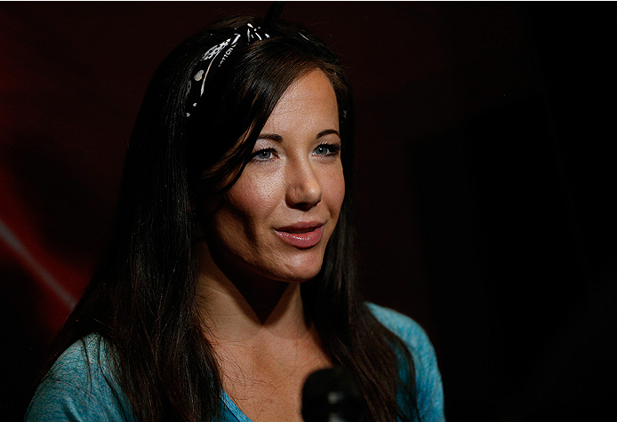 LAS VEGAS, NV - JULY 03:  The Ultimate Fighter season 20 cast member Angela Magana interacts with media during the UFC Ultimate Media Day at the Mandalay Bay Resort and Casino on July 3, 2014 in Las Vegas, Nevada.  (Photo by Josh Hedges/Zuffa LLC/Zuffa LLC via Getty Images)