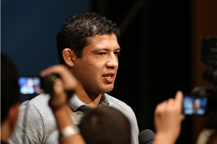 LAS VEGAS, NV - JULY 03:  The Ultimate Fighter season 20 coach Gilbert Melendez interacts with media during the UFC Ultimate Media Day at the Mandalay Bay Resort and Casino on July 3, 2014 in Las Vegas, Nevada.  (Photo by Josh Hedges/Zuffa LLC/Zuffa LLC via Getty Images)