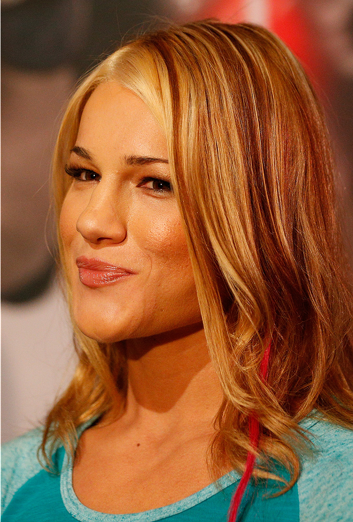 LAS VEGAS, NV - JULY 03:  The Ultimate Fighter season 20 fighter Felice Herrig interacts with media during the UFC Ultimate Media Day at the Mandalay Bay Resort and Casino on July 3, 2014 in Las Vegas, Nevada.  (Photo by Josh Hedges/Zuffa LLC/Zuffa LLC via Getty Images)