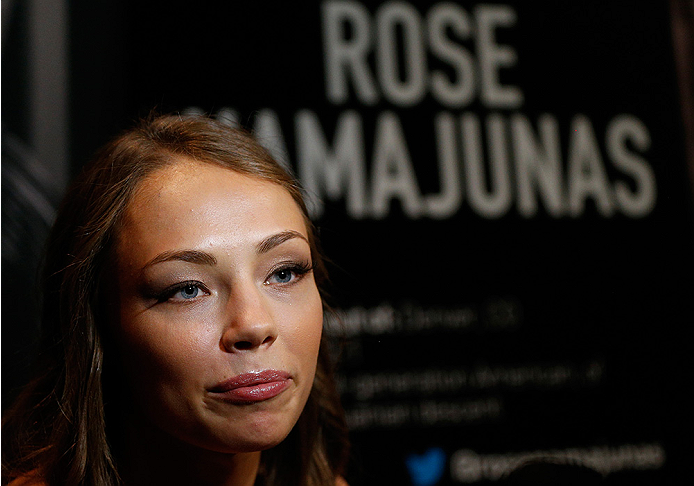 LAS VEGAS, NV - JULY 03:  The Ultimate Fighter season 20 cast member Rose Namajunas interacts with media during the UFC Ultimate Media Day at the Mandalay Bay Resort and Casino on July 3, 2014 in Las Vegas, Nevada.  (Photo by Josh Hedges/Zuffa LLC/Zuffa LLC via Getty Images)