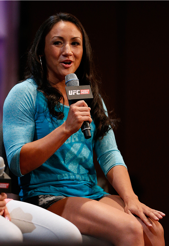 LAS VEGAS, NV - JULY 03:  The Ultimate Fighter season 20 cast member Carla Esparza interacts with fans during the UFC Ultimate Media Day at the Mandalay Bay Resort and Casino on July 3, 2014 in Las Vegas, Nevada.  (Photo by Josh Hedges/Zuffa LLC/Zuffa LLC via Getty Images)