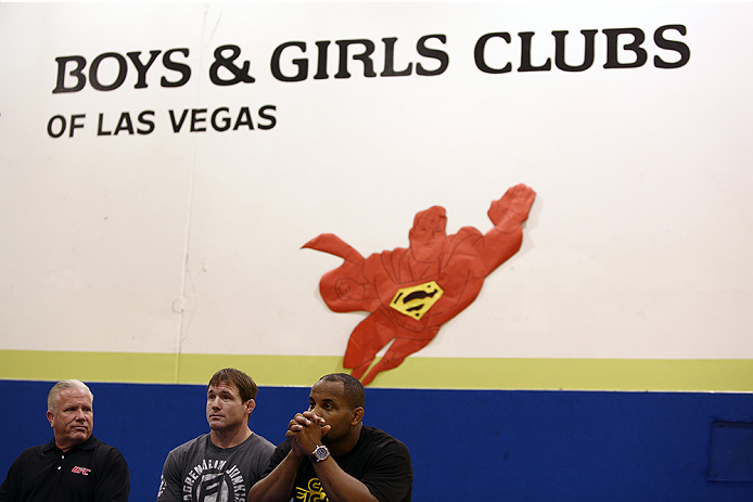 LAS VEGAS, NV - JULY 1:  (R-L) UFC fighters Daniel Cormier and Matt Hughes as the UFC, Ultimate Alliance and Boys & Girls Club of Las Vegas announce a partnership to host after school wrestling programs to kick off the UFC International Fight Week at the Boys & Girls Club of Southern Nevada on July 1, 2014 in Las Vegas, Nevada. (Photo by Brandon Magnus/Zuffa LLC/Zuffa LLC via Getty Images)