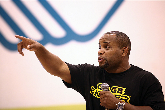 LAS VEGAS, NV - JULY 1:  UFC Fighter Daniel Cormier interacts with the crowd as the UFC, Ultimate Alliance and Boys & Girls Club of Las Vegas announce a partnership to host after school wrestling programs to kick off the UFC International Fight Week at the Boys & Girls Club of Southern Nevada on July 1, 2014 in Las Vegas, Nevada. (Photo by Brandon Magnus/Zuffa LLC/Zuffa LLC via Getty Images)