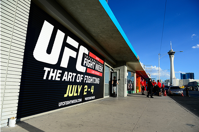 LAS VEGAS, NV - JULY 1:  A general view of the entrance to the Art of Fighting Exhibition to kick off the UFC International Fight Week at The Gallery on 1217 on July 1, 2014 in Las Vegas, Nevada. (Photo by Jeff Bottari/Zuffa LLC/Zuffa LLC via Getty Images)