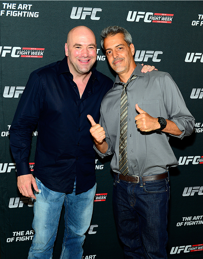 LAS VEGAS, NV - JULY 1:  (L-R) UFC President Dana White and artist Justin Bua arrive at the Art of Fighting Exhibition to kick off the UFC International Fight Week at The Gallery on 1217 on July 1, 2014 in Las Vegas, Nevada. (Photo by Jeff Bottari/Zuffa LLC/Zuffa LLC via Getty Images)