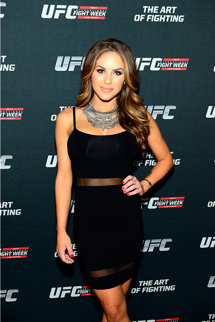 LAS VEGAS, NV - JULY 1:  UFC Octagon Girl and artist Brittney Palmer arrives at the Art of Fighting Exhibition to kick off the UFC International Fight Week at The Gallery on 1217 on July 1, 2014 in Las Vegas, Nevada. (Photo by Jeff Bottari/Zuffa LLC/Zuffa LLC via Getty Images)