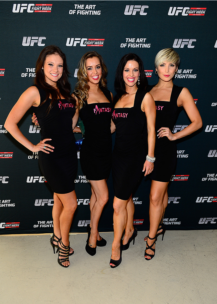 LAS VEGAS, NV - JULY 1:  (L-R) Cast members from the production show Fantasy, Danielle, Mariah, Tracey and Kristin arrive at the Art of Fighting Exhibition to kick off the UFC International Fight Week at The Gallery on 1217 on July 1, 2014 in Las Vegas, Nevada. (Photo by Jeff Bottari/Zuffa LLC/Zuffa LLC via Getty Images)