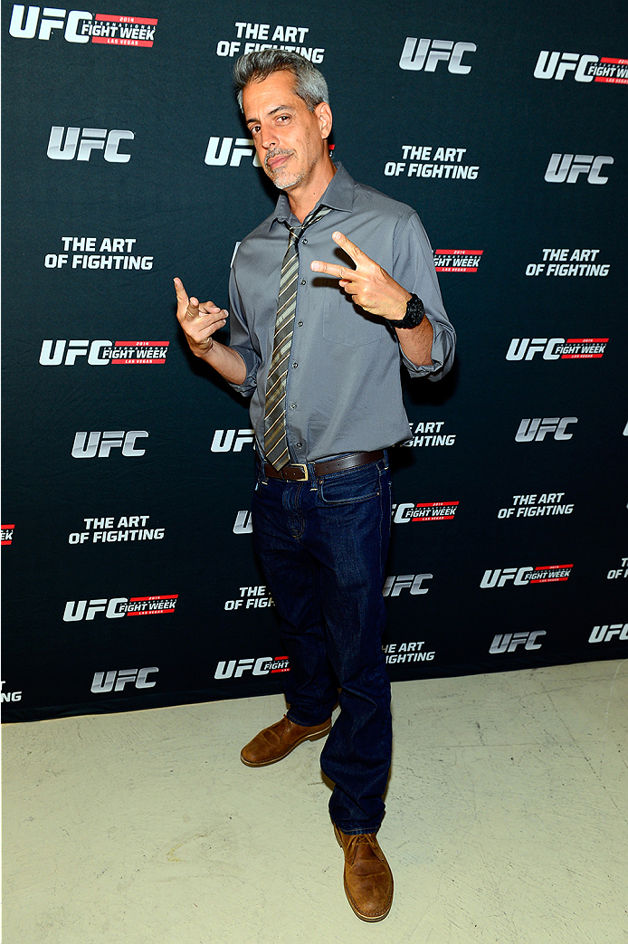 LAS VEGAS, NV - JULY 1:  Artist Justin Bua arrives at the Art of Fighting Exhibition to kick off the UFC International Fight Week at The Gallery on 1217 on July 1, 2014 in Las Vegas, Nevada. (Photo by Jeff Bottari/Zuffa LLC/Zuffa LLC via Getty Images)