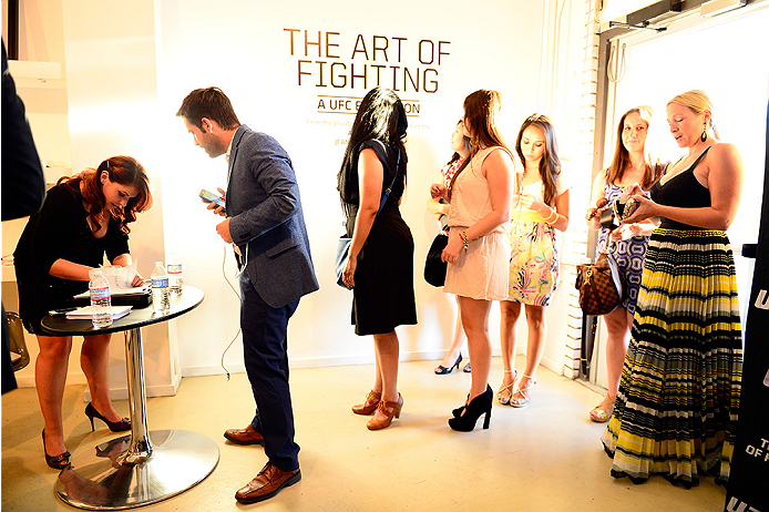 LAS VEGAS, NV - JULY 1:  Guests arrive at the Art of Fighting Exhibition to kick off the UFC International Fight Week at The Gallery on 1217 on July 1, 2014 in Las Vegas, Nevada. (Photo by Jeff Bottari/Zuffa LLC/Zuffa LLC via Getty Images)