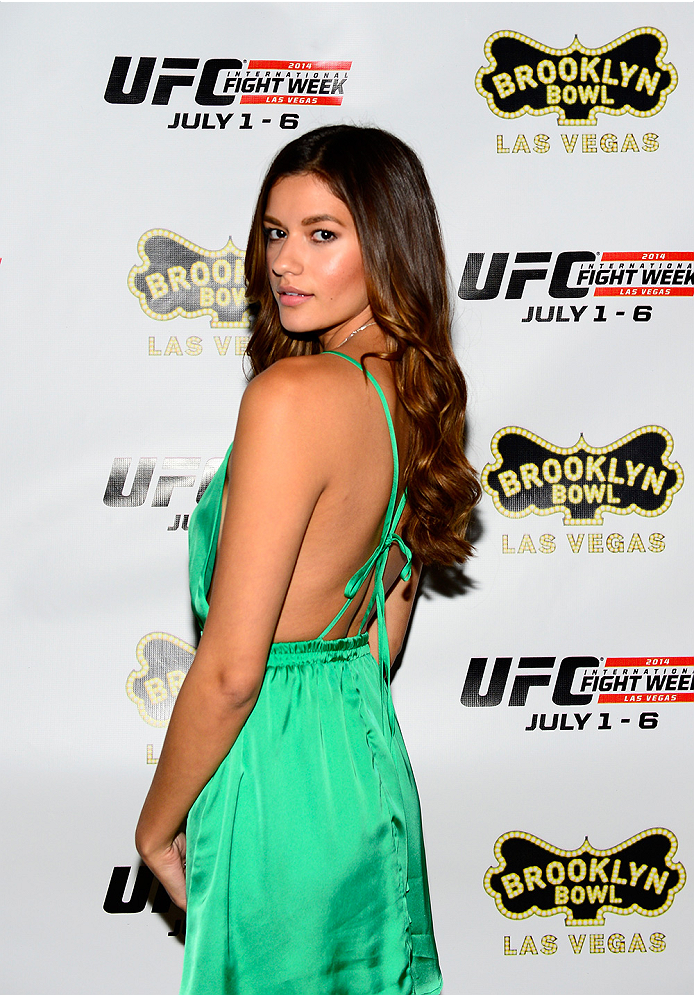 LAS VEGAS, NV - JULY 2: UFC Octagon Girl Vanessa Hanson arrives at the UFC's Advance Screening of the Twentieth Century Fox film 'Let's Be Cops' during UFC International Fight Week at Brooklyn Bowl Las Vegas at The LINQ on July 2, 2014 in Las Vegas, Nevada. (Photo by Brandon Magnus/Zuffa LLC/Zuffa LLC via Getty Images)