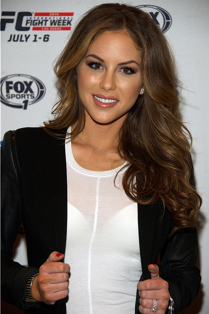 LAS VEGAS, NV - JULY 2:  UFC Octagon Girl Brittney Palmer arrives at the advanced screening of the Twentieth Century Fox film 'Let's Be Cops' during UFC International Fight Week at Brooklyn Bowl Las Vegas at The LINQ on July 2, 2014 in Las Vegas, Nevada. (Photo by Al Powers/Zuffa LLC/Zuffa LLC via Getty Images)