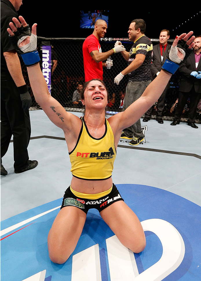 BRISBANE, AUSTRALIA - DECEMBER 07:  Bethe Correia reacts after defeating Julie Kedzie by split decision in their women's bantamweight fight during the UFC Fight Night event at the Brisbane Entertainment Centre on December 7, 2013 in Brisbane, Australia. (Photo by Josh Hedges/Zuffa LLC/Zuffa LLC via Getty Images)