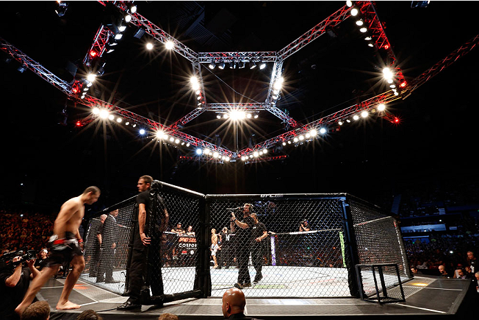 "BRISBANE, AUSTRALIA - DECEMBER 07:  A general view of the Octagon as Mauricio ""Shogun"" Rua enters before his light heavyweight fight against James Te Huna during the UFC Fight Night event at the Brisbane Entertainment Centre on December 7, 2013 in Brisbane, Australia. (Photo by Josh Hedges/Zuffa LLC/Zuffa LLC via Getty Images)"