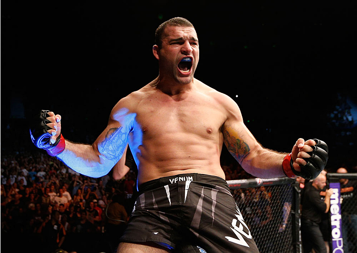 "BRISBANE, AUSTRALIA - DECEMBER 07:  Mauricio ""Shogun"" Rua reacts after knocking out James Te Huna in their light heavyweight fight during the UFC Fight Night event at the Brisbane Entertainment Centre on December 7, 2013 in Brisbane, Australia. (Photo by Josh Hedges/Zuffa LLC/Zuffa LLC via Getty Images)"