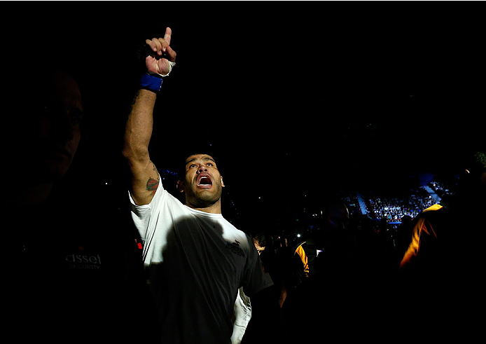 BRISBANE, AUSTRALIA - DECEMBER 07:  Antonio Silva enters the arena before his heavyweight fight against Mark Hunt during the UFC Fight Night event at the Brisbane Entertainment Centre on December 7, 2013 in Brisbane, Australia. (Photo by Josh Hedges/Zuffa LLC/Zuffa LLC via Getty Images)