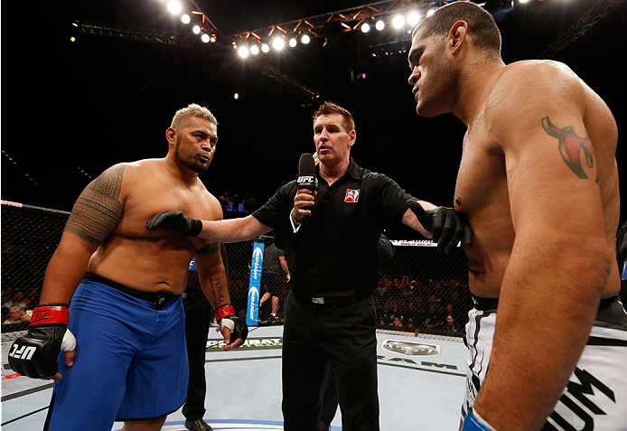 "BRISBANE, AUSTRALIA - DECEMBER 07:  (L-R) Opponents Mark Hunt and Antonio ""Bigfoot"" Silva face off before their heavyweight fight during the UFC Fight Night event at the Brisbane Entertainment Centre on December 7, 2013 in Brisbane, Australia. (Photo by Josh Hedges/Zuffa LLC/Zuffa LLC via Getty Images)"