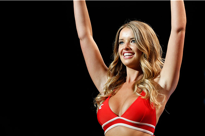 BRISBANE, AUSTRALIA - DECEMBER 07:  UFC Octagon Girl Kahili Blundell introduces a round during the UFC Fight Night event at the Brisbane Entertainment Centre on December 7, 2013 in Brisbane, Australia. (Photo by Josh Hedges/Zuffa LLC/Zuffa LLC via Getty Images)