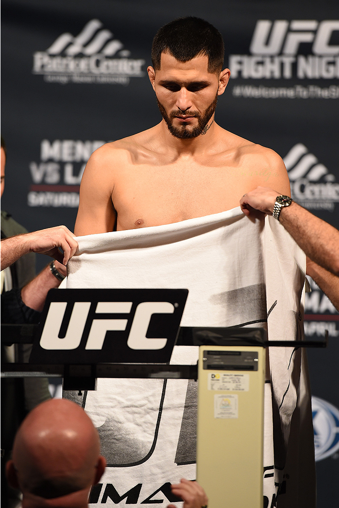 FAIRFAX, VA - APRIL 03:   Jorge Masvidal of Cuba weighs in during the UFC weigh-in at the Patriot Center on April 3, 2015 in Fairfax, Virginia. (Photo by Josh Hedges/Zuffa LLC/Zuffa LLC via Getty Images)