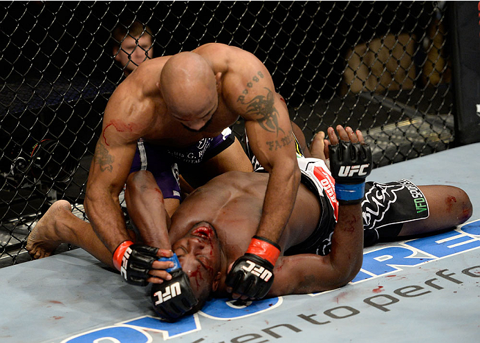 DULUTH, GA - JANUARY 15: Yoel Romero (Top) battles Derek Brunson on the mat in their middleweight fight during the UFC Fight Night event inside The Arena at Gwinnett Center on January 15, 2014 in Duluth, Georgia. (Photo by Jeff Bottari/Zuffa LLC/Zuffa LLC via Getty Images)