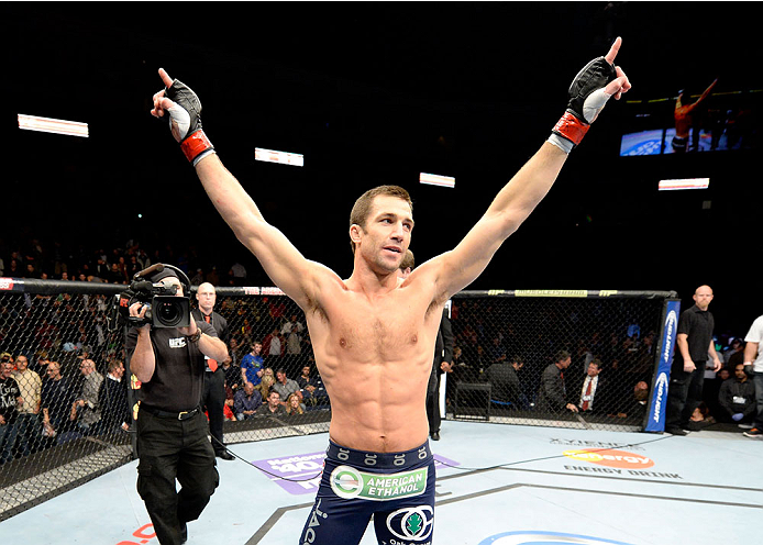 DULUTH, GA - JANUARY 15:  Luke Rockhold reacts after his victory over Costas Philippou in their middleweight fight during the UFC Fight Night event inside The Arena at Gwinnett Center on January 15, 2014 in Duluth, Georgia. (Photo by Jeff Bottari/Zuffa LLC/Zuffa LLC via Getty Images)