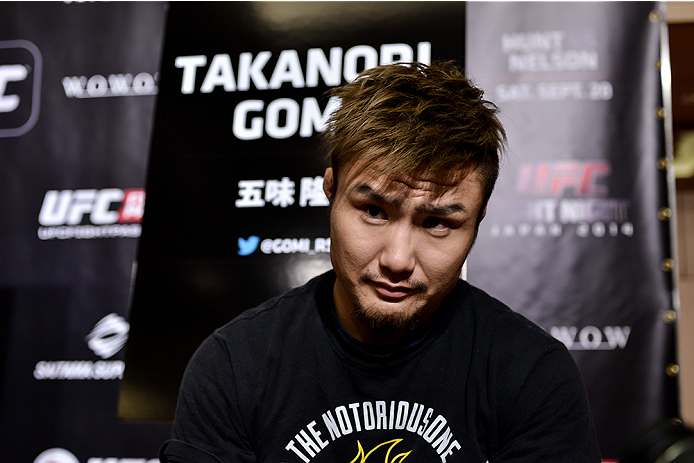TOKYO, JAPAN - SEPTEMBER 17:  Takanori Gomi interacts with media during the UFC Ultimate Media Day at the Hilton Tokyo on September 17, 2014 in Tokyo, Japan.  (Photo by Keith Tsuji/Zuffa LLC/Zuffa LLC via Getty Images)
