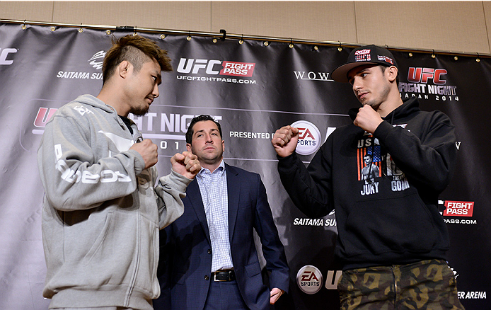 TOKYO, JAPAN - SEPTEMBER 17:  Takanori Gomi (L) and Myles Jury square off for the media during the UFC Ultimate Media Day at the Hilton Tokyo on September 17, 2014 in Tokyo, Japan.  (Photo by Keith Tsuji/Zuffa LLC/Zuffa LLC via Getty Images)