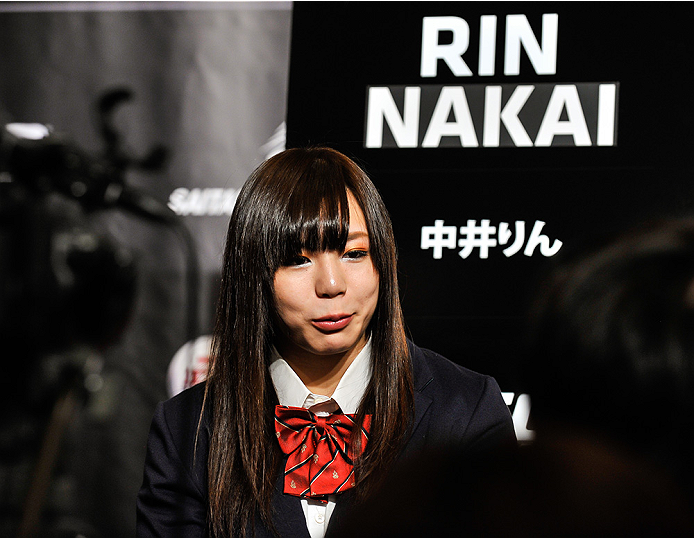 TOKYO, JAPAN - SEPTEMBER 17:  Rin Nakai interacts with media during the UFC Ultimate Media Day at the Hilton Tokyo on September 17, 2014 in Tokyo, Japan.  (Photo by Keith Tsuji/Zuffa LLC/Zuffa LLC via Getty Images)