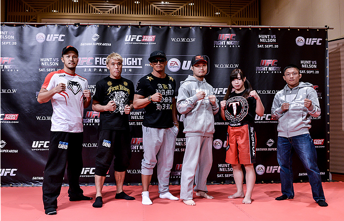 TOKYO, JAPAN - SEPTEMBER 16:  (L-R) Kazuki Tokudome, Masanori Kanehara, Yoshinori Akiyama, Takanori Gomi, Rin Nakai and Kyoji Horiguchi hold a UFC Fight Night open workout for media at the Hilton Tokyo on September 16, 2014 in Tokyo, Japan.  (Photo by Keith Tsuji/Zuffa LLC/Zuffa LLC via Getty Images)