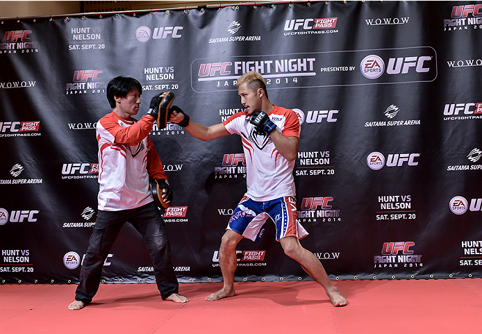 TOKYO, JAPAN - SEPTEMBER 16:  Kazuki Tokudome of Japan holds a UFC Fight Night open workout for media at the Hilton Tokyo on September 16, 2014 in Tokyo, Japan.  (Photo by Keith Tsuji/Zuffa LLC/Zuffa LLC via Getty Images)
