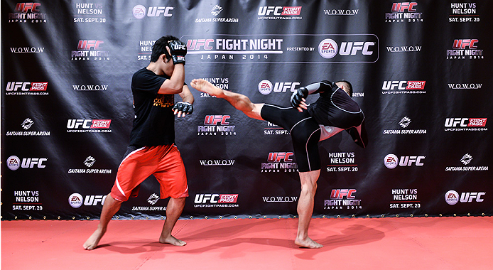 TOKYO, JAPAN - SEPTEMBER 16:  Kyoji Horiguchi of Japan holds a UFC Fight Night open workout for media at the Hilton Tokyo on September 16, 2014 in Tokyo, Japan.  (Photo by Keith Tsuji/Zuffa LLC/Zuffa LLC via Getty Images)