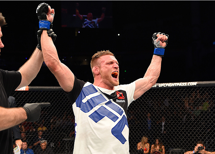 Scott Holtzman celebrates after his victory in his UFC debut in 2015