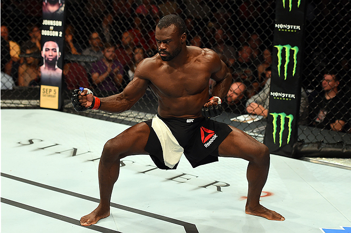 Uriah Hall of Jamaica celebrates after finishing <a href='../fighter/oluwale-bamgbose'>Oluwale Bamgbose</a> by TKO in their middleweight bout during the UFC Fight Night event at Bridgestone Arena on August 8, 2015 in Nashville, Tennessee. (Photo by Josh Hedges/Zuffa LLC)