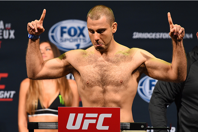 NASHVILLE, TN - AUGUST 07:  Anthony Christodoulou of Greece steps on the scale during the UFC weigh-in at Bridgestone Arena on August 7, 2015 in Nashville, Tennessee.  (Photo by Josh Hedges/Zuffa LLC/Zuffa LLC via Getty Images)