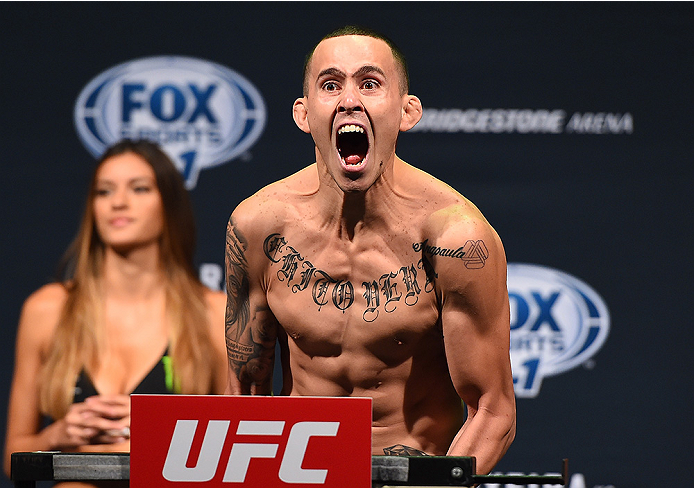 NASHVILLE, TN - AUGUST 07:  Marlon Vera of Ecuador steps on the scale during the UFC weigh-in at Bridgestone Arena on August 7, 2015 in Nashville, Tennessee.  (Photo by Josh Hedges/Zuffa LLC/Zuffa LLC via Getty Images)